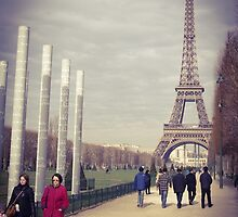 Eiffel Tower and the lady in red by visualimagery