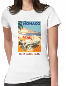 1936 Monaco Grand Prix Race Poster Womens Fitted T-Shirt