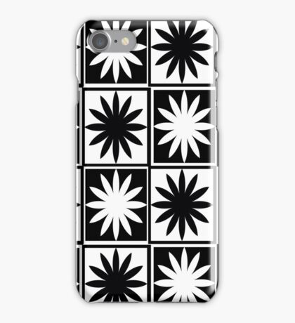 Black and White Daisy Checkers Pattern iPhone Case/Skin