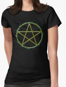 Pentacle with flowers Womens Fitted T-Shirt