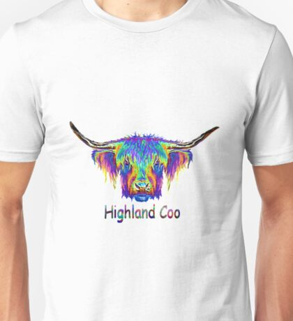 Rainbow Highland Coo Unisex T-Shirt