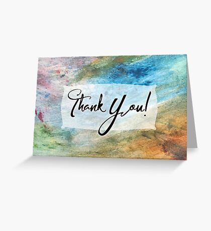 Thank You Card with Colorful Painted Abstract Background, 03 Greeting Card