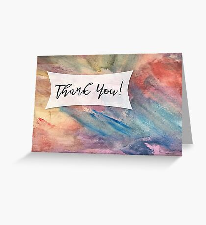 Thank You Card with Colorful Painted Abstract Background, 05 Greeting Card