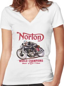 NORTON TT MOTORCYLE RETRO VINTAGE Women's Fitted V-Neck T-Shirt