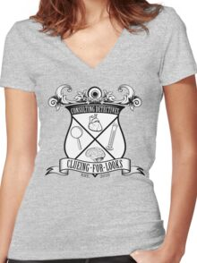 Sherlock's School of Clueing Women's Fitted V-Neck T-Shirt