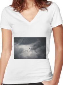 Crow flying in stormy sky Women's Fitted V-Neck T-Shirt