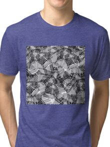 Modern black white pencil hand drawn geometric lines Tri-blend T-Shirt