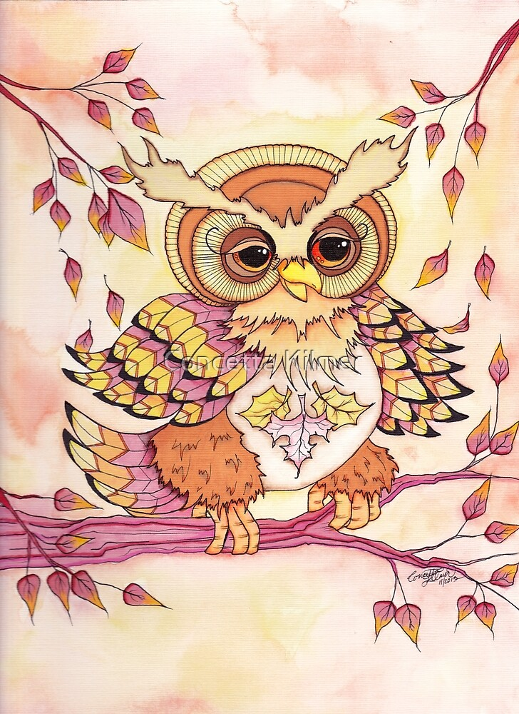 The Leaf Collector - Autumn Hooty by Concetta Kilmer