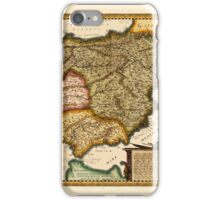 Map Of Spain 1650 iPhone Case/Skin