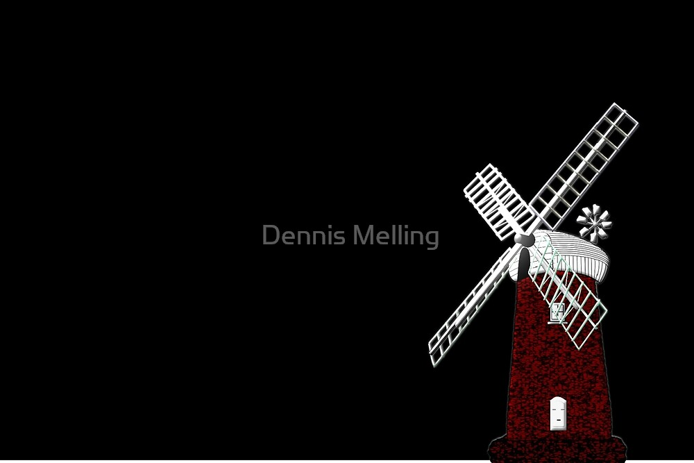 Horsey Drainage Mill, Norfolk Broads circa 19th century on black by Dennis Melling