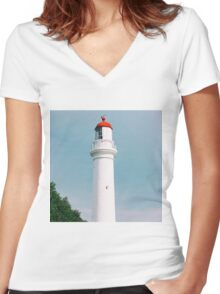 Split Point Lighthouse in Aireys Inlet. Women's Fitted V-Neck T-Shirt