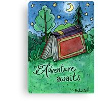 Adventure Awaits Watercolor Painting Canvas Print