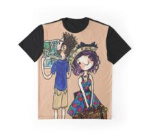 Travel Couple Watercolor Painting Graphic T-Shirt