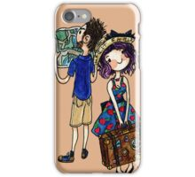 Travel Couple Watercolor Painting iPhone Case/Skin