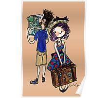 Travel Couple Watercolor Painting Poster