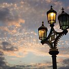 One Light Out - Westminster Bridge Streetlights, River Thames in London, UK by Georgia Mizuleva