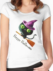 Cute Witch Cat on Broom Women's Fitted Scoop T-Shirt