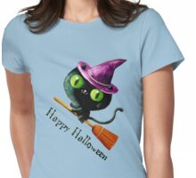 Cute Witch Cat on Broom Womens Fitted T-Shirt