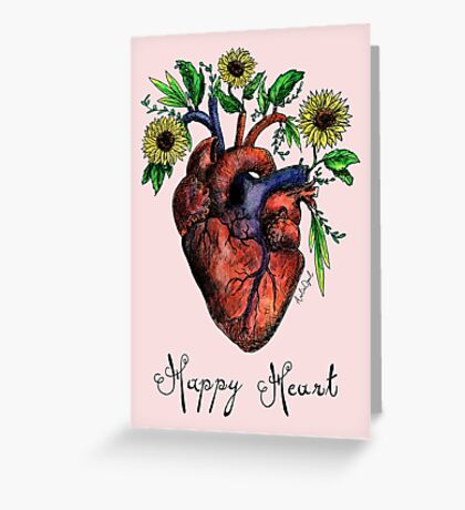 Happy Heart Watercolor Painting Greeting Card
