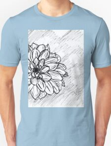 Black and White Flower Petals Unisex T-Shirt