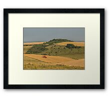 Combining on a Sussex hillside Framed Print