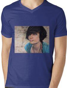 Blue Mens V-Neck T-Shirt