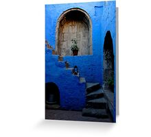 Blue Patio with Stairway Greeting Card