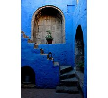 Blue Patio with Stairway Photographic Print
