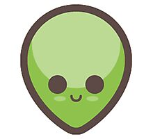 Cute Happy Green Alien Face Photographic Print