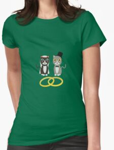 Wedding Cats with Rings Womens Fitted T-Shirt