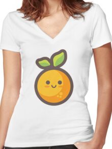 Cute Happy Orange Women's Fitted V-Neck T-Shirt