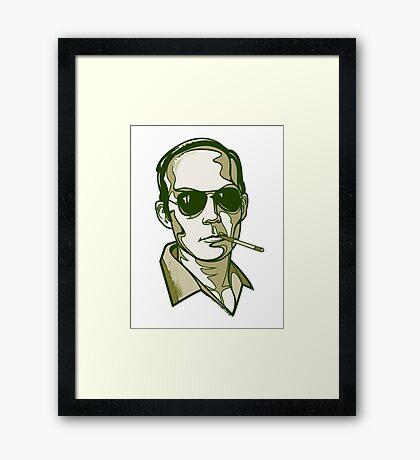 Hunter S. Thompson green Framed Print