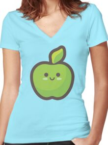 Cute Happy Green Apple Women's Fitted V-Neck T-Shirt