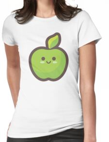 Cute Happy Green Apple Womens Fitted T-Shirt
