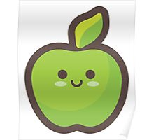Cute Happy Green Apple Poster