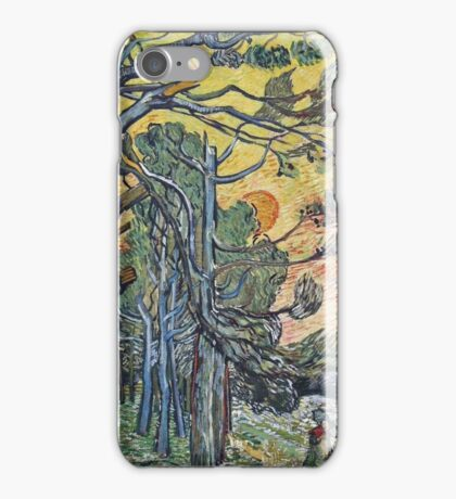 Vincent Van Gogh - Pine Trees Against An Evening Sky, 1889 iPhone Case/Skin