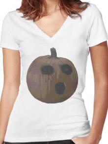 Spooky Pumpkin  Women's Fitted V-Neck T-Shirt