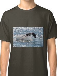 Flyboarder diving forwards headfirst into backlit sea Classic T-Shirt