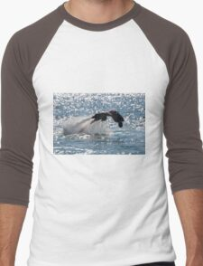 Flyboarder diving forwards headfirst into backlit sea Men's Baseball ¾ T-Shirt