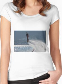 Flyboarder followed by spray over backlit sea Women's Fitted Scoop T-Shirt