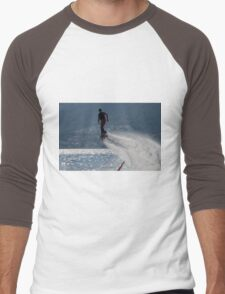 Flyboarder followed by spray over backlit sea Men's Baseball ¾ T-Shirt