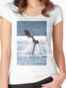 Flyboarder leaning into turn over backlit waves Women's Fitted Scoop T-Shirt
