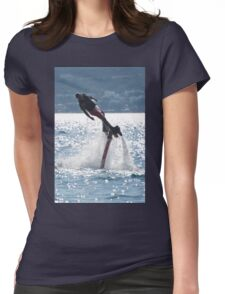 Flyboarder leaning into turn over backlit waves Womens Fitted T-Shirt