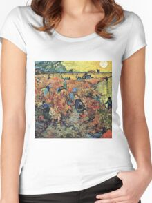 Vincent Van Gogh - Red Vineyards  Women's Fitted Scoop T-Shirt