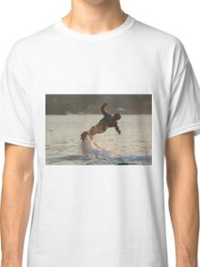 Flyboarder with arms out twisting towards water Classic T-Shirt