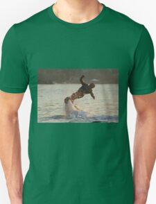 Flyboarder with arms out twisting towards water Unisex T-Shirt