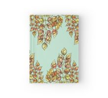 Hand drawn watercolor  golden leaves Hardcover Journal