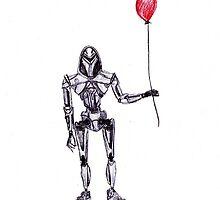 Cylon Centurion with Red Balloon by 2dollarsidekick