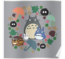 My Neighbor Totoro Wreath - Anime, Catbus, Soot Sprite, Blue Totoro, White Totoro, Mustard, Ochre, Umbrella, Manga, Hayao Miyazaki, Studio Ghibl Poster