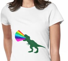 Rainbow T-Rex Power! Womens Fitted T-Shirt